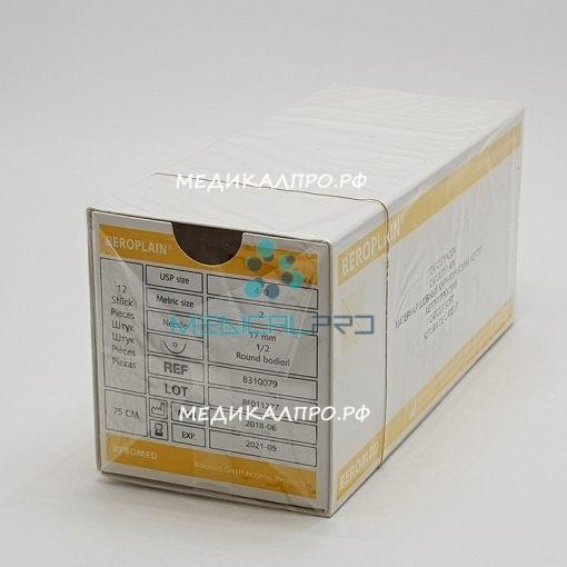 ketgut beroplain555 510x510 - Кетгут простой 1 (5), 75 см 40мм, колющая, 1/2 уп./12 шт.