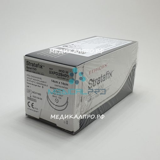 stratafix pdo 888 510x510 - SXPD2B414 Стратафикс Stratafix Spiral PDO 2/0, двунаправл.14+14см, фиолет. Кол. 26 мм х 2, 1/2 уп./12 шт.